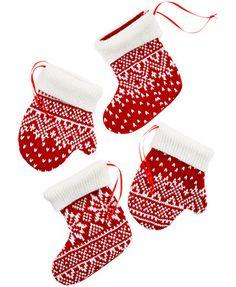 Holiday Lane Set of 4 Stocking & Mitten Ornaments