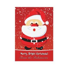 Cute Santa Claus flat Christmas card by zazzleproducts1