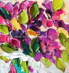 Original Oil Painting Magenta Floral Impasto by IronsideImpastos