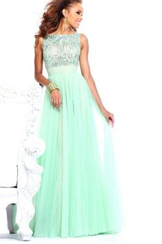 $5 Free shipping Stunning Beaded High Neck Open Back Empire Mint Green Chiffon Long Evening Dress Modest Prom Gowns With Sleeves -in Prom Dresses from Apparel  Accessories on http://Aliexpress.com $139.00 $5 Deal