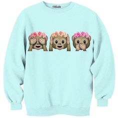 Floral See No Evil Crew-neck Sweatshirt Kollage ❤ liked on Polyvore featuring tops, hoodies, sweatshirts, shirts, blue top, floral print shirt, blue sweatshirt, flower print shirt e sweatshirts hoodies