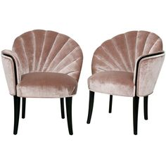 art deco furniture | Pair of 1920's Art Deco Shell Back Boudoir Chairs