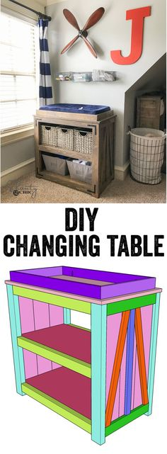 DIY Changing Table Free Plans and How-To video... This also makes a great console or coffee bar! So fun! (Diy Bar Coffee)