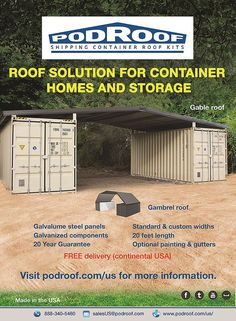 Container House - podroof-shipping-comtainer-roofing-home-design - Who Else Wants Simple Step-By-Step Plans To Design And Build A Container Home From Scratch? Container Shop, Container Cabin, Storage Container Homes, Cargo Container, Container House Plans, Container Design, Storage Containers, Container Gardening, Shipping Container Buildings