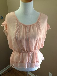Vera Wang Peach Peplum Blouse ( L ) sheer with lace accent