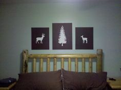 I made something I found on Pinterest! Well, something like something I found! These are cheap canvases from Michaels, painted light base color, traced outline of images, and painted around the edges. I really like how they turned out! Deer silhouette, tree silhouette, DIY canvas art