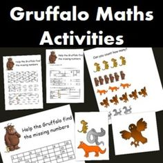Here I have a Gruffalo maths activity with 3 different sheets depending on ability.Students need to use a 100 chart to fill in the missing numbers on the sheet Gruffalo Eyfs, Gruffalo Activities, Counting Activities, Learning Activities, Maths Eyfs, Math Literacy, Kindergarten Math Worksheets, Preschool Math, Numeracy