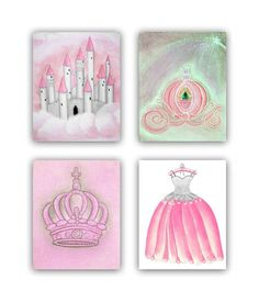 Baby Girl Princess Nursery Pink  Grey Decor, SET OF 4 Princess Art Prints, Girls Wall Art, Kids Decor, Kids Art, Princess Art  for Children