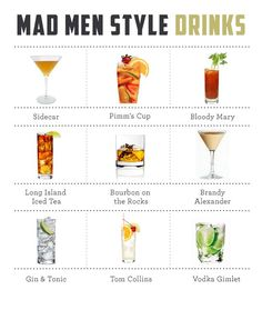 Mad Men Cocktail Guide and Drink Recipes