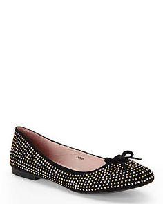 G.C. SHOES Black Dotted Ballet Flats