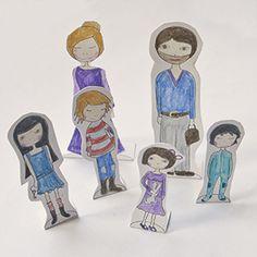 Pinta tu familia! Imprimible  Paint your family! Printable  Male Deine Familie!...