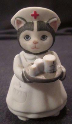 "3.25"" SCHMID KITTY CUCUMBER NURSE ELLIE FIGURINE 1986 B. SHACKMAN in Collectibles, Decorative Collectibles, Decorative Collectible Brands | eBay"