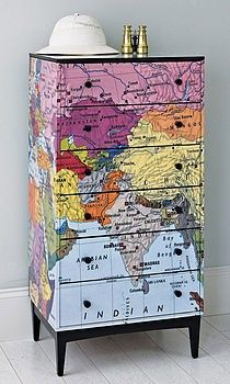 Map furniture to inspire emptying those drawers! Hopefully it also inspires you to DIY w paint or mod podge real maps