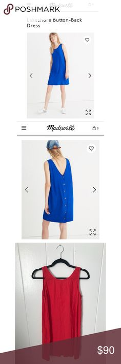 Button-Back Dress Madewell's Lakeshore Button-Back Dress. I absolutely love the button detail down the back of this dress. Note this is the same dress in the photos from Madewell but it is red not blue. Barely worn and fits true to size. Dress it up with mules and a statement necklace or wear it more relaxed with sandals for a day at the farmer's market! Madewell Dresses