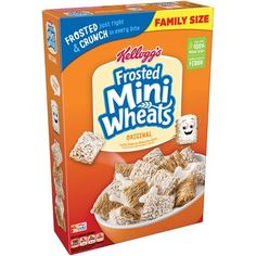 Greet the day with Kellogg's Original Frosted Mini-Wheats—a wholesome, low fat breakfast cereal that's built for big days. These bite-size biscuit. Low Fat Breakfast, Breakfast Cereal, Breakfast Ideas, Wheat Biscuits, High Fiber Cereal, Cereal Packaging, Whole Grain Wheat, Homemade Trail Mix, Whole Grain Cereals