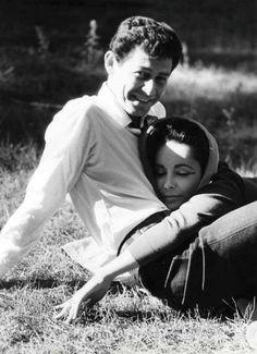 Elizabeth Taylor and Eddie Fisher in the break between filming Butterfield 8 (1960)