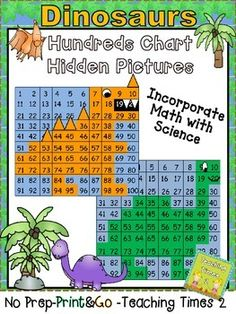 *NO PREP-PRINT & GO* This is a cute and fun way to incorporate math into your Science lesson on dinosaurs or practicing with numbers to 100. The kiddos will love watching to see the hidden dinosaur revealed. Great to use in a math,science center or whole group lesson.