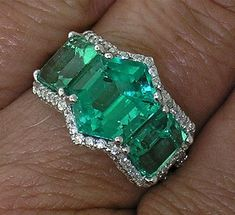 One-of-a-kind EMERALD & DIAMOND Ring in Platinum with Micro-paved Diamonds in Jewelry & Watches, Fine Jewelry, Fine Rings | eBay