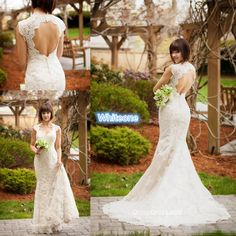 2016 Keyhole Back Full Lace Plus Size Wedding Dresses Sweetheart Cap Sleeves Chapel Train Mermaid Spring Garden Vintage Bridal Wedding Gown Satin Mermaid Wedding Dress Strapless Mermaid Wedding Dress From Whiteone, $156.31| Dhgate.Com