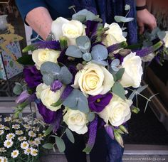 Beautiful Purple and White Rose Freesia and Lissanthus Bridal Bouquet   Booker Flowers and Gifts Liverpool   Specialist Wedding Florist