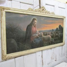 Large framed Jesus print lithograph antique by AnitaSperoDesign