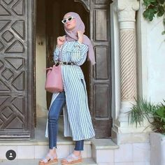 striped open shirt-Casual hijab summer looks – Just Trendy Girls