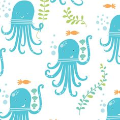 Octopus Party Organic Fabric from Monaluna's Under the Sea Collection