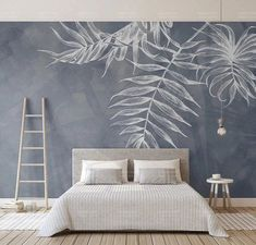 Leaf Wallpaper Tropical Wall Murals Monochrome Wall Decor Palm Tree Leaves Wall Art Tropic Home Design Natural Cafe Decor Living Room Bedroo Bedroom Murals, Bedroom Decor, Wall Designs For Bedroom, Bedroom Wall Stickers, Bedroom Beach, Bedroom Sets, Girls Bedroom, Bedrooms, Wall Painting Living Room