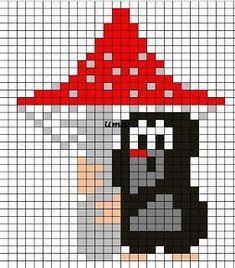Krtek Little Mole knitting chart - Myyrä ja kärpässieni neule - neulekaavio Crochet Chart, Crochet Blanket Patterns, Embroidery Patterns, Cross Stitch Patterns, Knitting Patterns, Knitting Charts, Knitting Socks, Baby Knitting, Norwegian Knitting