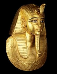Gold burial mask of of the pharoah King Psusennes I, discovered in 1940 by Pierre Montet. Psusennes I was the third king of the Twenty-first dynasty of Egypt who ruled from Tanis (the biblical Zoan) between 1047 – 1001 BC