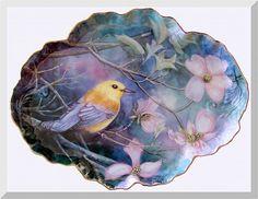 Yellow Bird on Porcelain Serving Platter