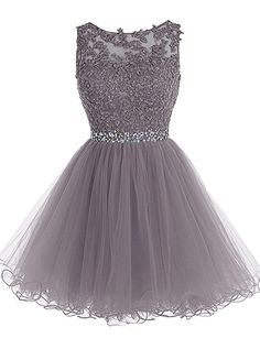 Tideclothes Short Beaded Prom Dress Tulle Applique Evening Dress Burgundy US8
