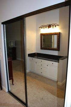 How to makeover old gold rimmed closet frames!!  Primer:  RUST-OLEUM's Clean Metal Spray Paint: RUST-OLEUM's Metallic all-surface paint in oil rubbed bronze Top Coat:  RUST-OLEUM's Crystal Clear Enamel