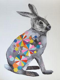 harold 56 x collage pencil on paper Animal Art, Art Festival, Illustration Art, Animal Magic, Rabbit Art, Art, Animal Paintings, Paper Collage Art, Graphic Art