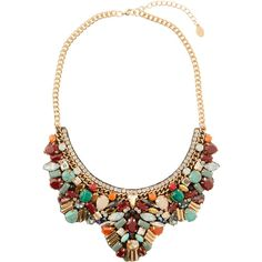 Accessorize Genie Embellished Multicolor Bib Necklace featuring polyvore fashion jewelry necklaces multi colored bib necklace chain statement necklace statement necklace green bib necklace colorful necklace