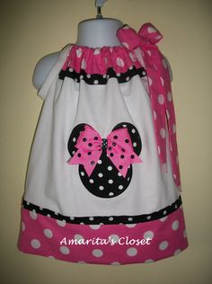 Minnie Mouse Pillowcase dress White Pink and black