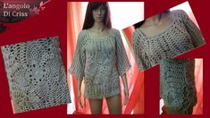"Maglia traforata all'uncinetto ""Chiara"" - crochet Woman shirt- camisa mu..."