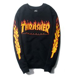 Thrasher Magazine Flame Logo Black Crew Neck Sweatshirt