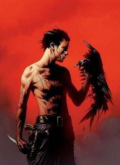 The Dark Tower - Jae Lee Art - Roland Deschain and David, his hawk.