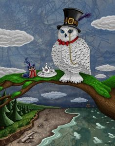 Fun whimsical art of a white owl, who represents the owl from the movie Labyrinth with David Bowie, and the worm having tea together. Art by Jake Hose, prints are also available!