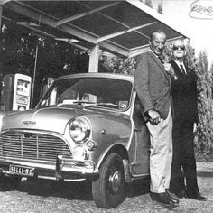 Alec issigonis and Enzo Ferrari together with Enzo's Mini