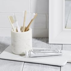 Marble Toothbrush Holder   The White Company US. Shopping from the UK? -> http://www.thewhitecompany.com/home/home-accessories/new-in/marble-toothbrush-holder/?refCode=BMHTH