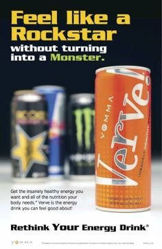VERVE! The only drink where you get THE ENERGY you're looking for with the added benefit of 12 spectrum Vitamins, 65 plant sourced Essential Minerals, Mangosteen, and Aloe - VEMMA! It's amazing. www.jerilynstclair.vemma.com