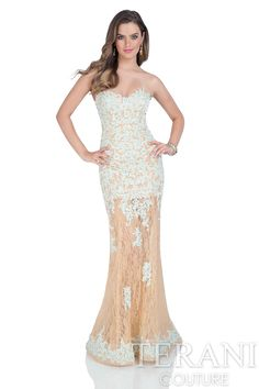 Nude illusion lace sheath gown with sweetheart neckline and floral embroidery along the bodice