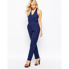 Fashion Union Halterneck Jumpsuit (180 SAR) ❤ liked on Polyvore featuring jumpsuits, navy, halter top, navy blue jumpsuit, white halter jumpsuit, white halter top jumpsuit and navy halter top