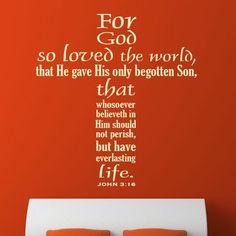 For God so Loved the World. John 3:16 Scripture decal | Divine Walls