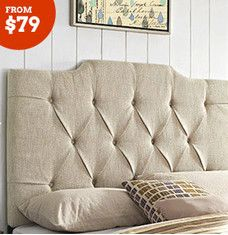 Make bedtime extra dreamy with the addition of an affordable headboard. Upholstered linen designs make a chic statement, while elaborate metal frames satisfy traditional tastes. For a functional finishing touch, choose a headboard equipped with a bookcase to keep nighttime necessities close at hand.