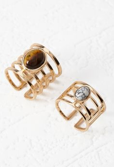 Faux Stone Cutout Ring Set - Accessories - Jewellery - 1000178607 - Forever 21 EU