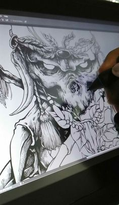 starting hatching for this night,,,i think i need a coffee and snack. #inking #wacom #skull