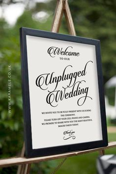 Printable Unplugged Wedding Sign Wedding by KarameleShop on Etsy - no cell phones, no photos, no cameras reception - technology free wedding reception